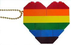 Funky Rainbow necklace  Chunky heart pendant  by MademoiselleAlma #MademoiselleAlma #LEGO #ETSY