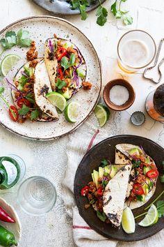 Tempeh Tacos // tempeh, chili powder, cumin, cornflour, onion powder, garlic powder, smoked paprika, ground coriander, chili powder, cayenne pepper, tomato puree, vegetable oil, tortillas, avocados, red cabbage, fresh coriander, lime