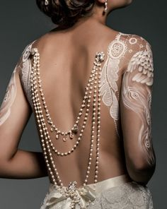 Wedding back jewellery - pearl & vintage silver - Josephine – KEZANI JEWELLERY - designer bridal jewellery and wedding accessories