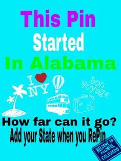 Traveling Pin: Alabama, Illinois, Tennessee,Virginia,South Carolina,Pennsylvania, Neverland, alaska, Indiana,,England... Colorado, Mexico