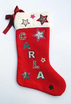 Luxury Personalised Handmade Christmas Stocking - Name: Carla Roses Luxury, Vintage Fabrics, Handmade Christmas, Christmas Stockings, Trending Outfits, Handmade Gifts, Holiday Decor, My Style, Xmas
