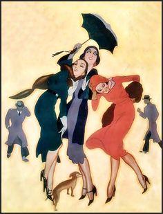 Fernando Bosch. Art Nouveau, Vintage Magazine, Rain Art, Walking In The Rain, Art Deco Posters, Image Archive, Art Deco Era, Abstract Images, Beautiful Soul