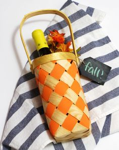Home Decor: Fall Wine Tote // Twin Stripe for My Crafty Spot