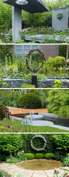 Use sculptural circles in the garden for balance! Copy the Chelsea designers