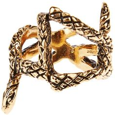Saint Laurent Serpent monogram ring ($197) ❤ liked on Polyvore featuring jewelry, rings, dark ring, gold tone jewelry, yves saint laurent, yves saint laurent jewelry and gold tone rings