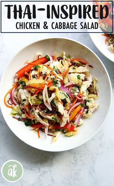 Thai Chicken and Cabbage Salad — so refreshing and satisfying. In this cabbage salad, cabbage is tossed with a Thai dressing and a ton of chopped vegetables. It comes together in a snap, and tastes light and summery. Healthy Eating Recipes, Healthy Salads, Cooking Recipes, Vegetarian Recipes, Chicken And Cabbage, Thai Chicken, Veggie Side Dishes, Food Dishes, Thai Salads