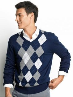 Navy argyle sweater, white shirt, grey pants
