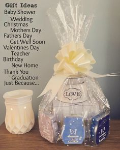 Scentsy has something to make everyone happy and for every occasion. Not sure what to choose? Message me and I can help you put together the perfect gift for any occasion! #Scentsy #GiftIdea #GiftIdeas #Blue #White #BabyShower #HouseWarming #ThankYou #AmandaS725 #GiftBasket #Gift