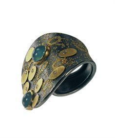Michael Zobel   Ring silver, 22 + 24 K gold   aquamarine, diamonds champagne coloured