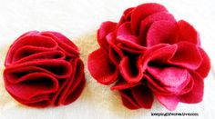 How to make felt flowers. This is a great tutorial. They are sooo quick and easy. All you need is fabric, scissors, and a glue gun (or you could hand stitch).