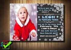 Birthday invitation  printable card winter in PDF and JPG