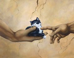 Cat Art  Great and Small  Hand signed giclee