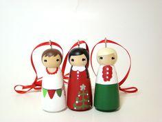 Christmas Holiday Ornament Peg Doll Ornament Hand Painted Custom - Set of 3. $24.00, via Etsy.
