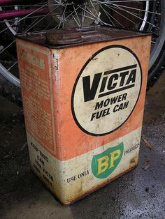 P2021942 - A very genuine original Victa 2-stroke mower fuel can which is quite worse for wear by navarzo4, via Flickr • victa lawn mower