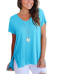 1bc9efaa34668b Women T Shirts Loose Casual Fashion Tee Tops Summer Tshirts Lake Blue L Summer  Tshirts,