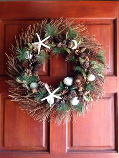 Beach wreath using shells for Christmas