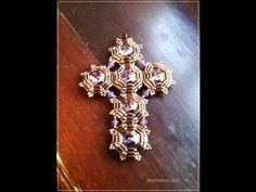 Tutorial facile perline | Come fare una croce con perline e cristalli Croce Decò (bead tutorial) - YouTube
