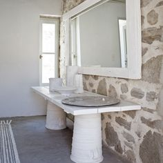 Paola Navone's Greek island getaway, perched over the Aegean in the Cyclades..
