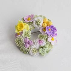 "Crocheting brooch ""Clovers and violets"". The brooch consists of many flowers. All flowers are made and painted by hand with special paints. The paint is fixed. Brooch looks very gentle, original. Will make your image unique can not be wetted Crochet Bouquet, Crochet Brooch, Crochet Fabric, Flower Crochet, Crochet Round, Cute Crochet, Crochet Earrings, Crochet Patterns, Tiny Flowers"