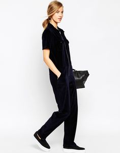 ed57ee3d3b2 Image 4 of ASOS Relaxed Jumpsuit in Velvet with Zip Detail Jumpsuits