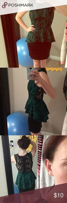 Green and Black Sleeveless Cocktail Dress Midi dress Green with Black Velvet designs. Lace back. Worn 3 times. Sleeveless. Size small. Dress is one piece with the green part flaring into a skirt to add emphasis to the waist. Very cute for a cocktail party or a night out! Dresses