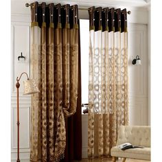 Classic Embroidery Sheer Curtain with Floral Pattern For Living Room Japanese Embroidery, Vintage Embroidery, Embroidery Hoops, Embroidery Patches, Embroidery Patterns, Living Room Bedroom, Living Room Decor, Black And Gold Living Room, Embroidered Pillowcases