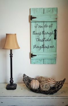 I Can Do All Things Through Christ Who by HeartofGodRanch on Etsy Pallet Crafts, Diy Pallet Projects, Wood Projects, Diy Wood Signs, Wall Signs, Scrapbook Paper Canvas, Door Signage, Board And Brush, Diy Crafts How To Make