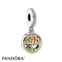 """This vintage-style sterling silver locket dangle charm from the PANDORA Fall 2016 collection features a magnificent family tree in precious 14K yellow gold and the engraving """"family forever."""" With its beautiful execution and nod to heirloom styles, this charm is an exquisite tribute to families. Style # 791988CZ."""