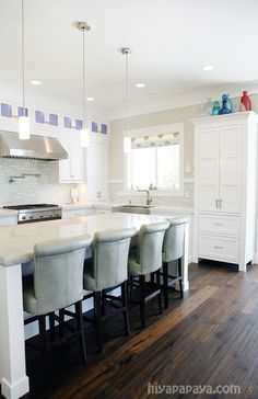Love this fresh blue, white and turquoise kitchen. A coastal lover's dream come true! Designed by Lindy Allen of Four Chairs Furniture. Built by Millhaven Homes. Photographed by Hiya Papaya.