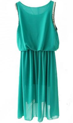 LOVE this!!! Teal Sleeveless Elastic Waist Chiffon Dress