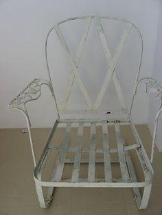 vintage woodard chantilly rose wrought iron bounce patio or garden rocking chair
