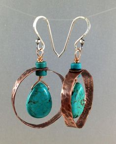 Hammered copper hoops with turquoise-dyed howlite, and turquoise heishi beads; sterling silver balled earwires