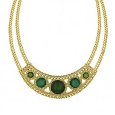 Love this emerald and gold colour combination. This statement necklace is so pretty and regal. 2028 Fair Isle Collar Necklace