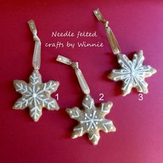 Needle felted Christmas ornaments Gingerbread by FunFeltByWinnie