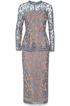 Emilia Wickstead | Lace peplum midi dress | NET-A-PORTER.COM