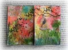 Art journal pages from Carol Q - butterflies, bird cage and watercolor
