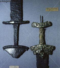 Viking sword hilts, Sweden. Artist: Werner Forman