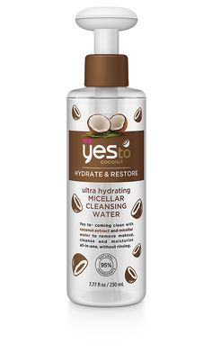 Yes to coming clean with coconut extract and micellar water to remove makeup, cleanse and moisturize skin all-in-one, without rinsing.