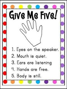 "Give Me Five Poster (FREEBIE) TBOTE 3/15/16 PreK-5 FREE LESSON - ""Give Me Five Poster (FREEBIE)"" - Go to The Best of Teacher Entrepreneurs for this and hundreds of free lessons. Pre-Kindergarten - 5th Grade    #FreeLesson   http://www.thebestofteacherentrepreneurs.net/2016/03/free-misc-lesson-give-me-five-poster.html"