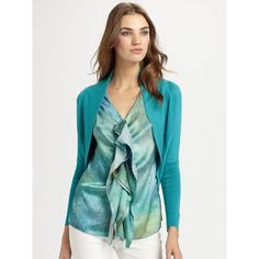 Josie Natori Silk/Cashmere Bolero ($395) ❤ liked on Polyvore