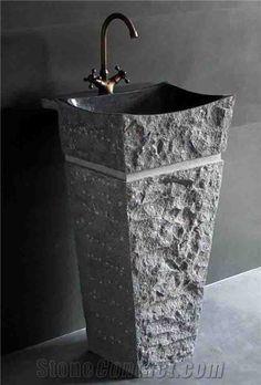 Online Shop Natural Stone Sink Pedestal Magnificent Granite Stone Pedestal Sink Highly polished interior basin with chiseled pedestal sink Stone Bathtub, Stone Bathroom, Bathroom Sinks, Bathroom Flooring, Modern Bathroom, Handmade Home, Wash Basin Counter, Marble Bathtub, Washbasin Design