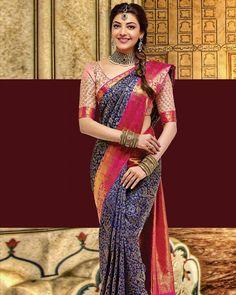 Kajal Aggarwal on a saree Indian Bridal Sarees, Wedding Silk Saree, Indian Beauty Saree, Bridal Blouse Designs, Saree Blouse Designs, Kajal Agarwal Saree, Indische Sarees, Wedding Saree Collection, Bridal Collection