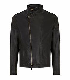 #Armani Collezioni High Collar Leather Jacket
