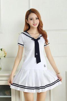 04ce57008bc Cute Girls Scholl Sailor Uniform Japan Lolita Students Outfits with Badge  Tshirt + Skirt Set