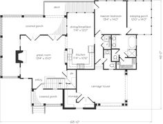 Southern Living - Ashton Floorplan - Reverse layout and extend roofline over covered porch. Then add vaulted windows in porch and great room (replacing bulky fireplace with woodstove)