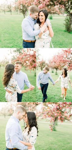 Spring engagement session with pink blooming trees, what to wear for engagement photos, engagement pictures outfits inspiration, engagement photography, couples photography, posing couples