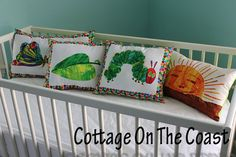 Pillows..Made With Very Hungry Caterpillar by CottageOnTheCoast