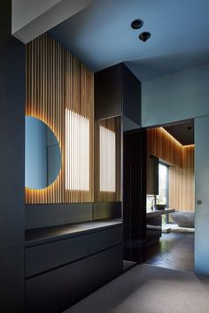 Splinter Society have designed the modern interior renovation of a Californian bungalow in Melbourne, Australia. Wood Slat Wall, Wooden Slats, Home Interior, Modern Interior, Interior Design, Japanese Interior, Bungalows, Melbourne Suburbs, California Bungalow