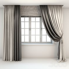 Two-color curtains the floor is straight and with a pick-up brush, Roman curtains and a window Living Room Decor Curtains, Home Curtains, Curtains With Blinds, Black Curtains, Luxury Curtains, Modern Curtains, Colorful Curtains, Curtain Styles, Curtain Designs