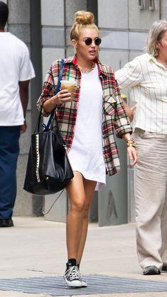 Slip dress with plaid flannel #like